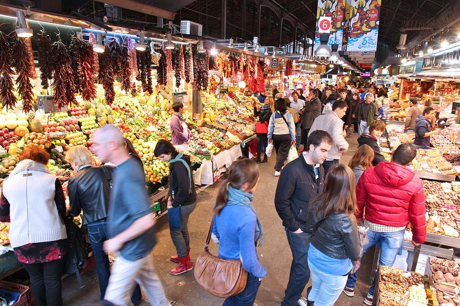 Boqueria market in Barcelona, Spain