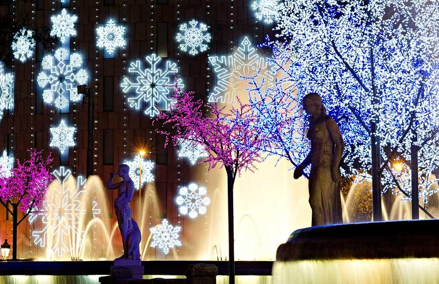 Barcelona Plaza Catalunya during Christmas