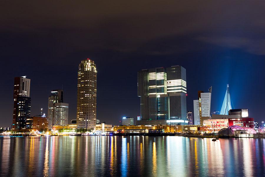 Beautiful Rotterdam skyline at night